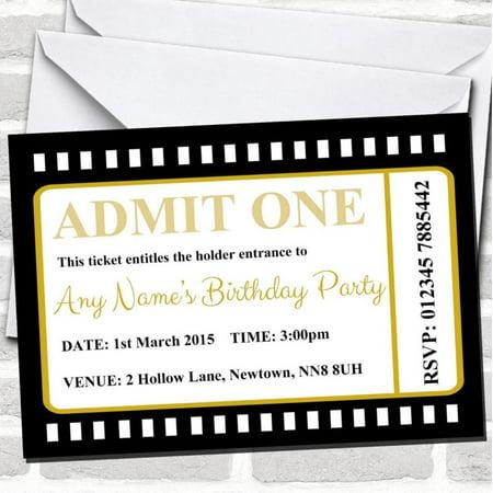 Movie Ticket Black Birthday Party Invitations - Party Tickets