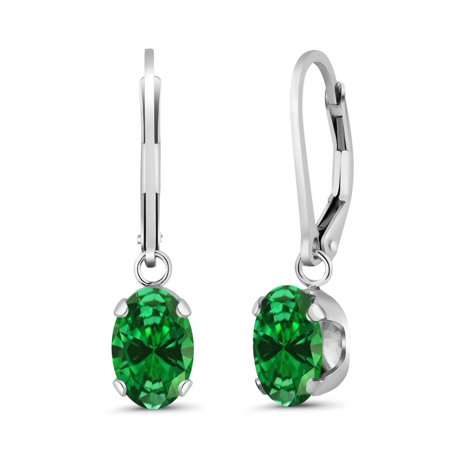 4.20 Ct Oval Green Simulated Emerald 925 Sterling Silver Women