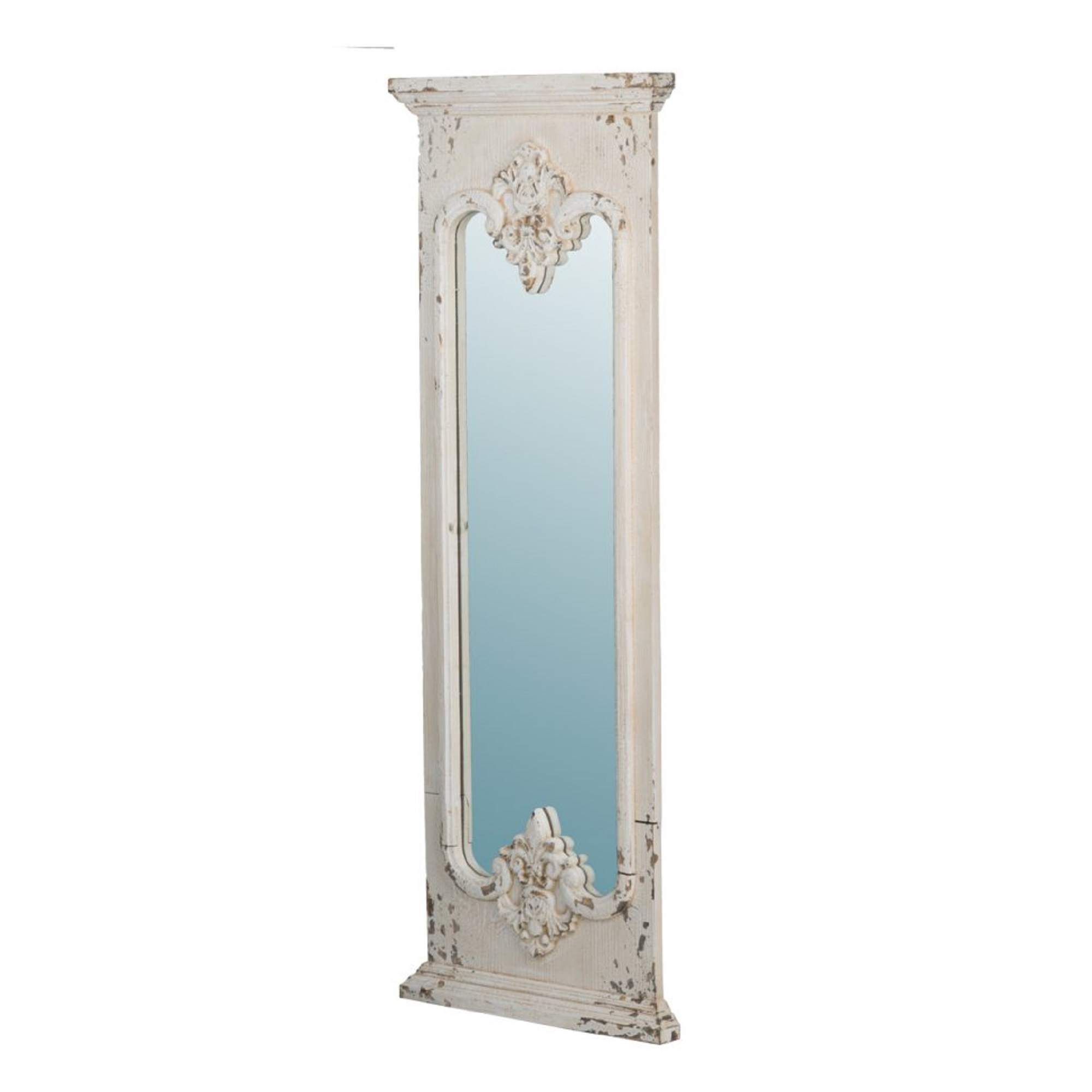 59 White Distressed Classic Vintage Style Wood Framed Rectangular Floor Mirror Walmart Com Walmart Com