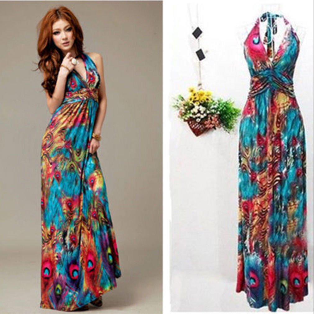 ICOCO Maxi Dress Women Plus Size Tall Full Length Hawaiian ...