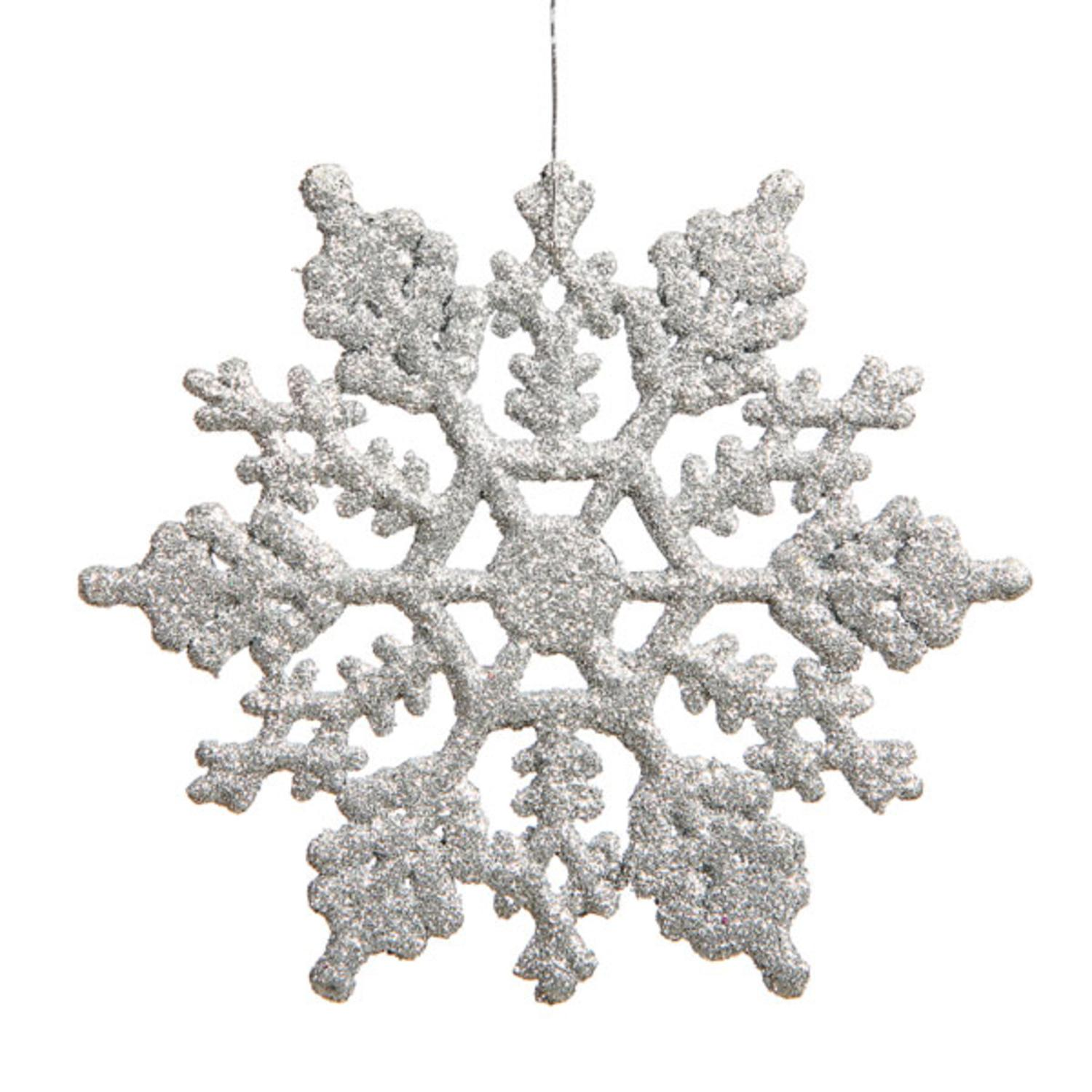 Club Pack Of 12 Silver Glitter Snowflake Christmas Ornaments 6 25