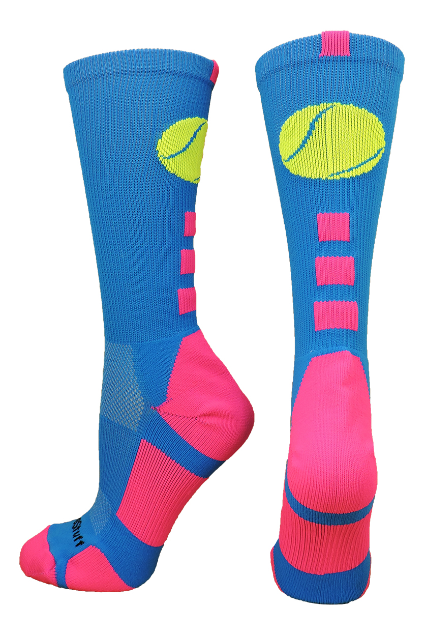 Tennis Logo Athletic Crew Socks (Black/White, Medium)