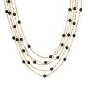 Womens Glass Gold-Tone Black 5-Strand Fashion Necklace 16Adj. NEW
