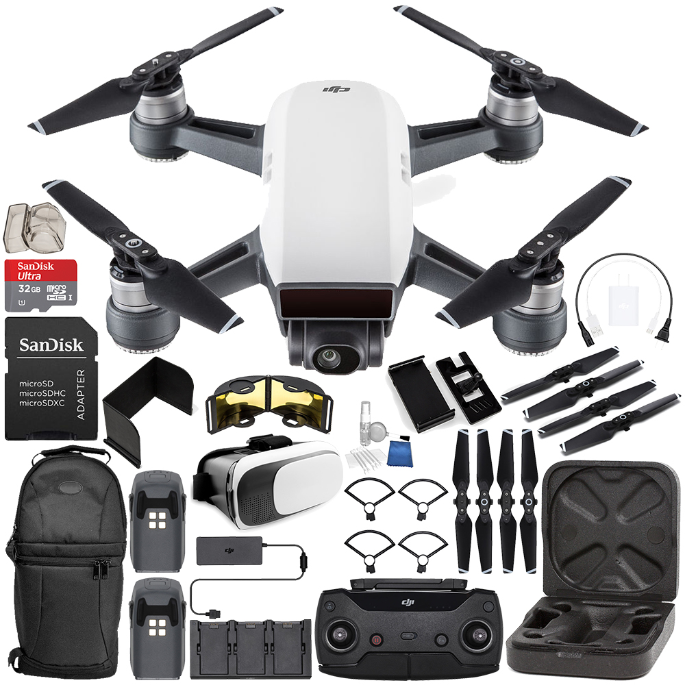 DJI Spark Portable Mini Drone Quadcopter Fly More Combo (Alpine White) EVERYTHING YOU NEED Bundle