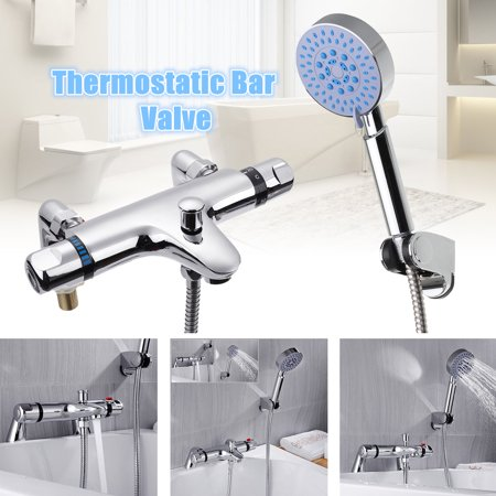 Thermostatic Bathroom Home Decor Taps Bath Shower Mixer Tap Handset Deck Mounted Valve Set