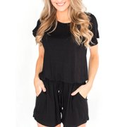 Women Summer Casual Shorts Romper Jumpsuit Elastic Waisted Holiday Mini Playsuit