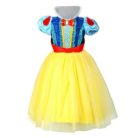 Celebrity Fancy Dress Halloween (Grils Princess Dress Snow White Cotume Halloween Party Carnival Fancy Dress)