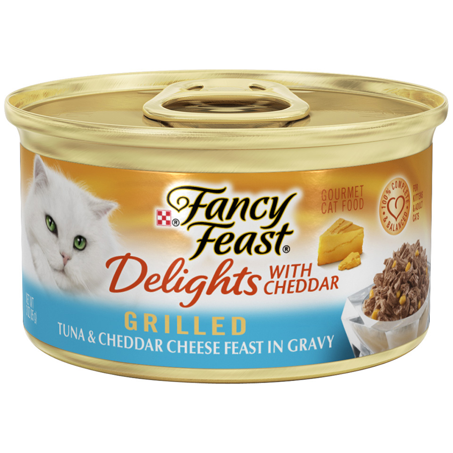 (4 Pack) Purina Fancy Feast Delights Grilled Tuna & Cheddar Cheese Feast in Gravy Wet Cat Food- 3-oz. Can