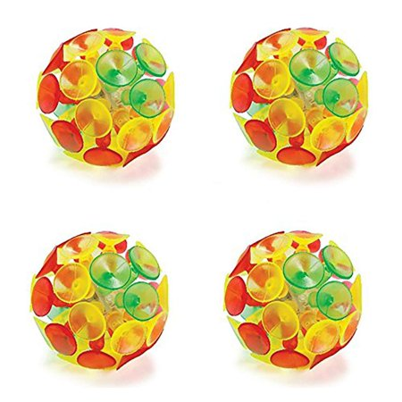 Light Up Suction Cup Ball - 4 Pack - 2 Inches Colorful - Batteries Included
