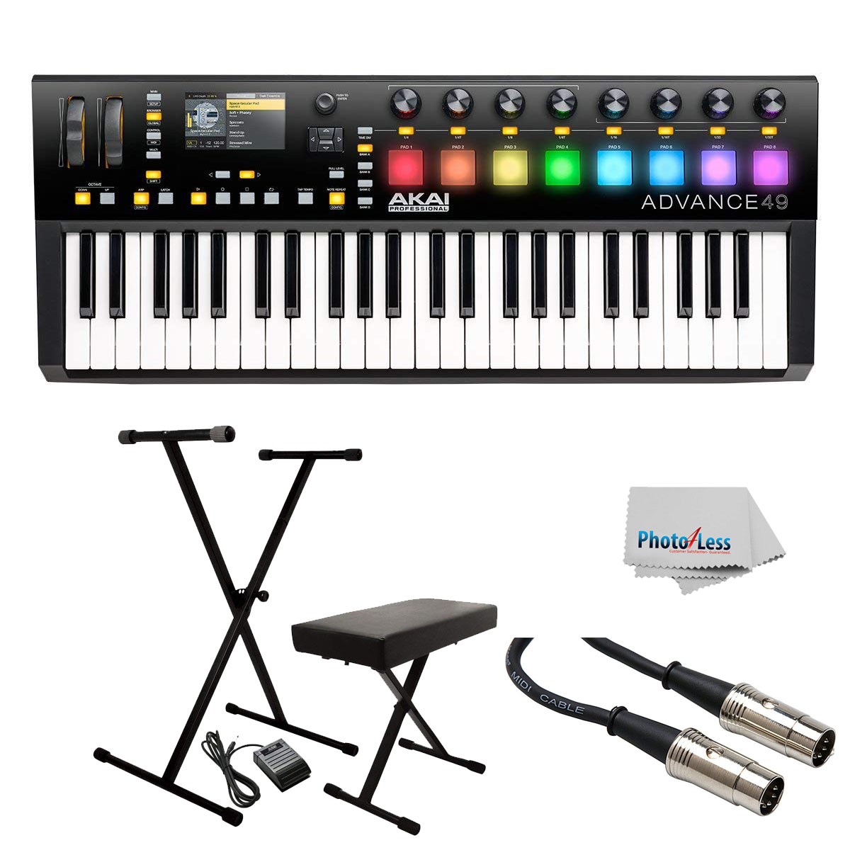 Akai Advance 49- 49-Key MIDI Keyboard Controller + Stand,Bench,Pedal & Cable
