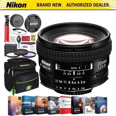 Nikon AF NIKKOR 20mm f/2.8D FX Ultra Wide Angle Prime Lens with Auto Focus for Nikon DSLR Cameras Premium Accessory Bundle Deco Gear Photography Gadget Bag Filter Set Software Suite & Maintenance