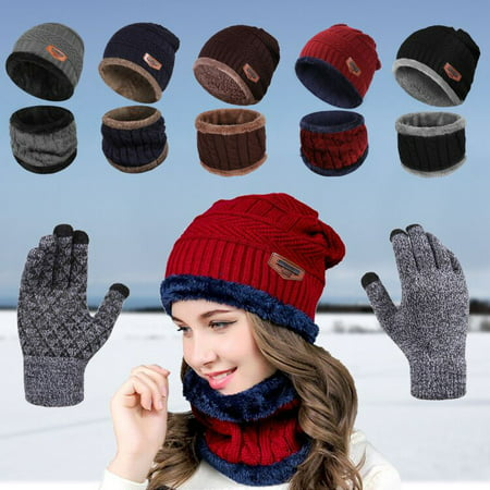 2-Pieces Winter Beanie Hat Scarf Set Warm Knit Hat Thick Knit Skull Cap for Men Women thumbnail