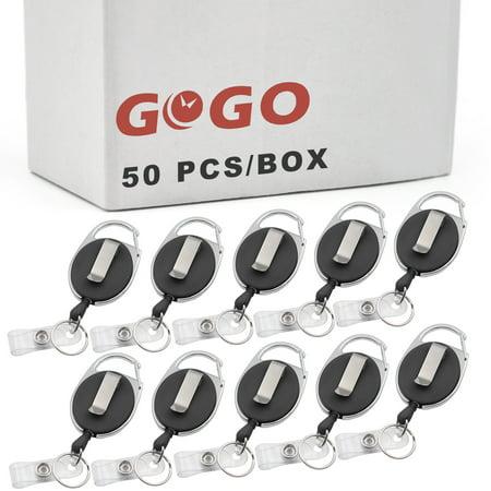 GOGO Wholesale Carabiner Retractable Badge Holder, ID Card Lanyard-Solid Black-50 PCS](Lanyards Wholesale)