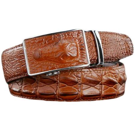 Men's Alligator Embossed Genuine Leather Automatic Buckle Ratchet Belt Alligator Embossed Patent Leather