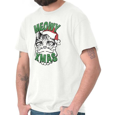 Meowy Christmas Cat Kitten Santa Claus T Shirt Tee