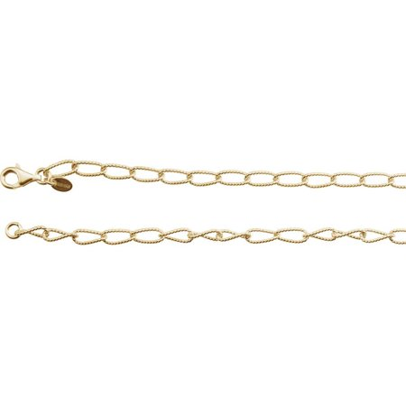 Bella Grace Jewelry Collection 24K Yellow Vermeil 4.5mm Knurled Curb 16