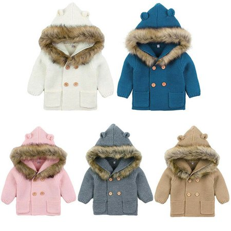 Newborn Baby Boys Girls Crozy Sweater Double Breasted Knitted Coat Hooded Top (Newborn Boy Jacket)