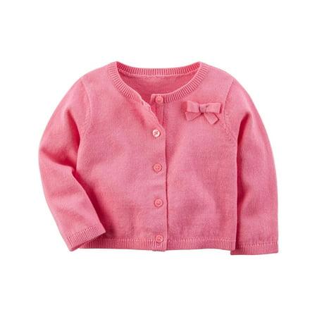 - Carter's Baby Girls' Long Sleeve Bow Cardigan- Pink