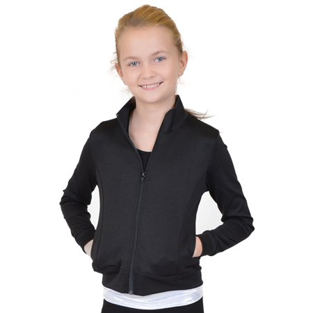 Teamwear Viscose/Nylon/Spandex Cadet Warm Up Jacket - X Small Child (4) / Black (Viscose Nylon)