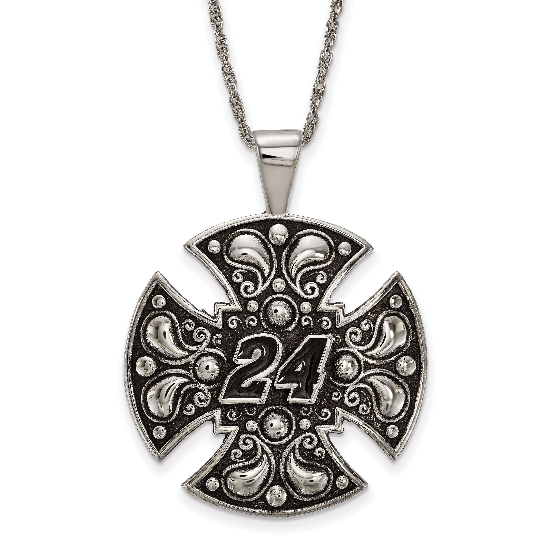 STAINLESS STEEL LogoArt Official Licensed Nascar LARGE MALTESE CROSS FOR MEN #24JEFF GORDON by Jewelrypot