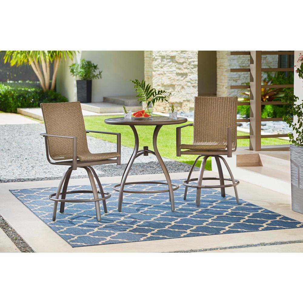Hampton Bay 5477 Sb Beckham 2 Pack Swivel Wicker Balcony Height