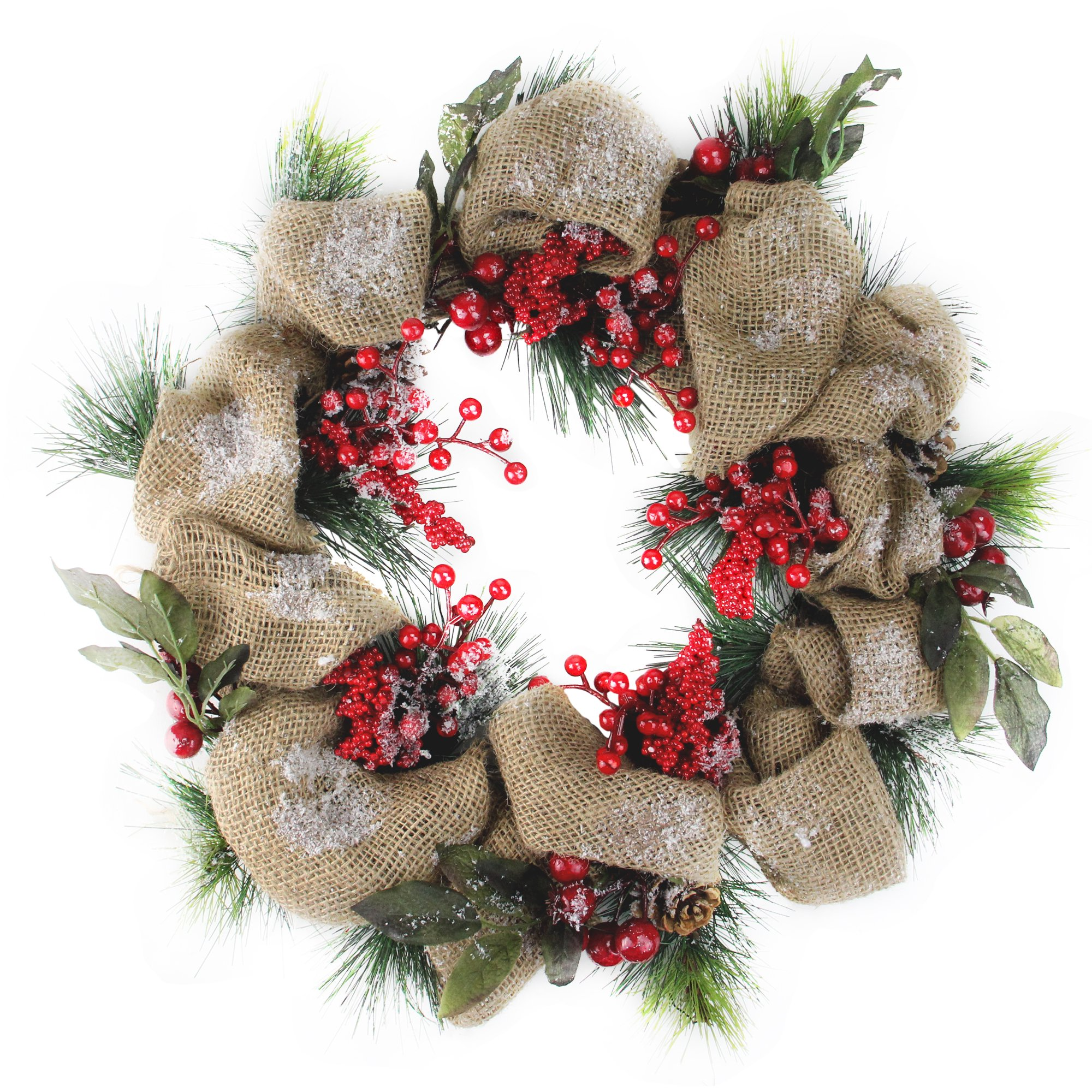 Christmas Wreath.18 Snow Dusted Country Rustic Artificial Christmas Wreath With Berries And Pine Cones Unlit