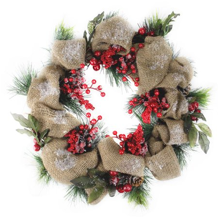 Christmas Wreaths.18 Snow Dusted Country Rustic Artificial Christmas Wreath With Berries And Pine Cones Unlit Walmart Canada