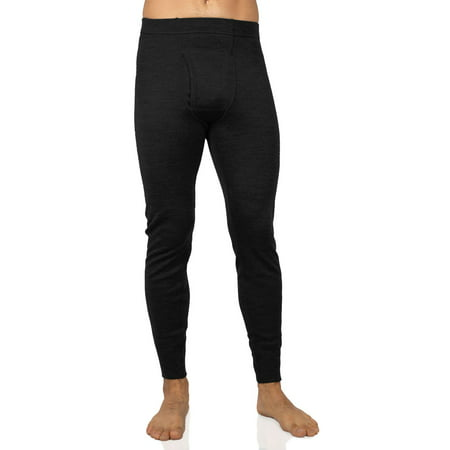 MERIWOOL Men's Merino Wool Midweight Baselayer Bottom - Black -