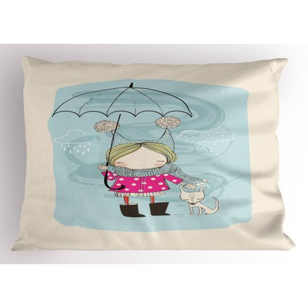 Kids Pillow Sham Little Girl Illustration in Winter Clothes Umbrella and a Cute Dog in Rainy Weather, Decorative Standard Queen Size Printed Pillowcase, 30 X 20 Inches, Multicolor, by - Winter Clothes Girls