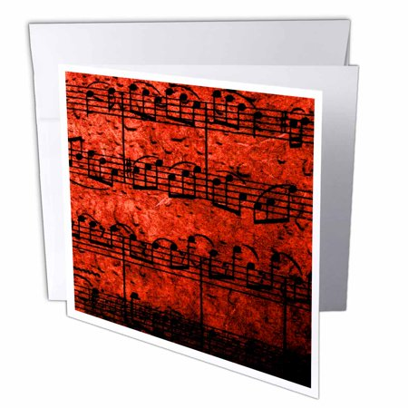 3dRose Musical Interlude in Red, Greeting Cards, 6 x 6 inches, set of 12 (Greeting Cards Musical)