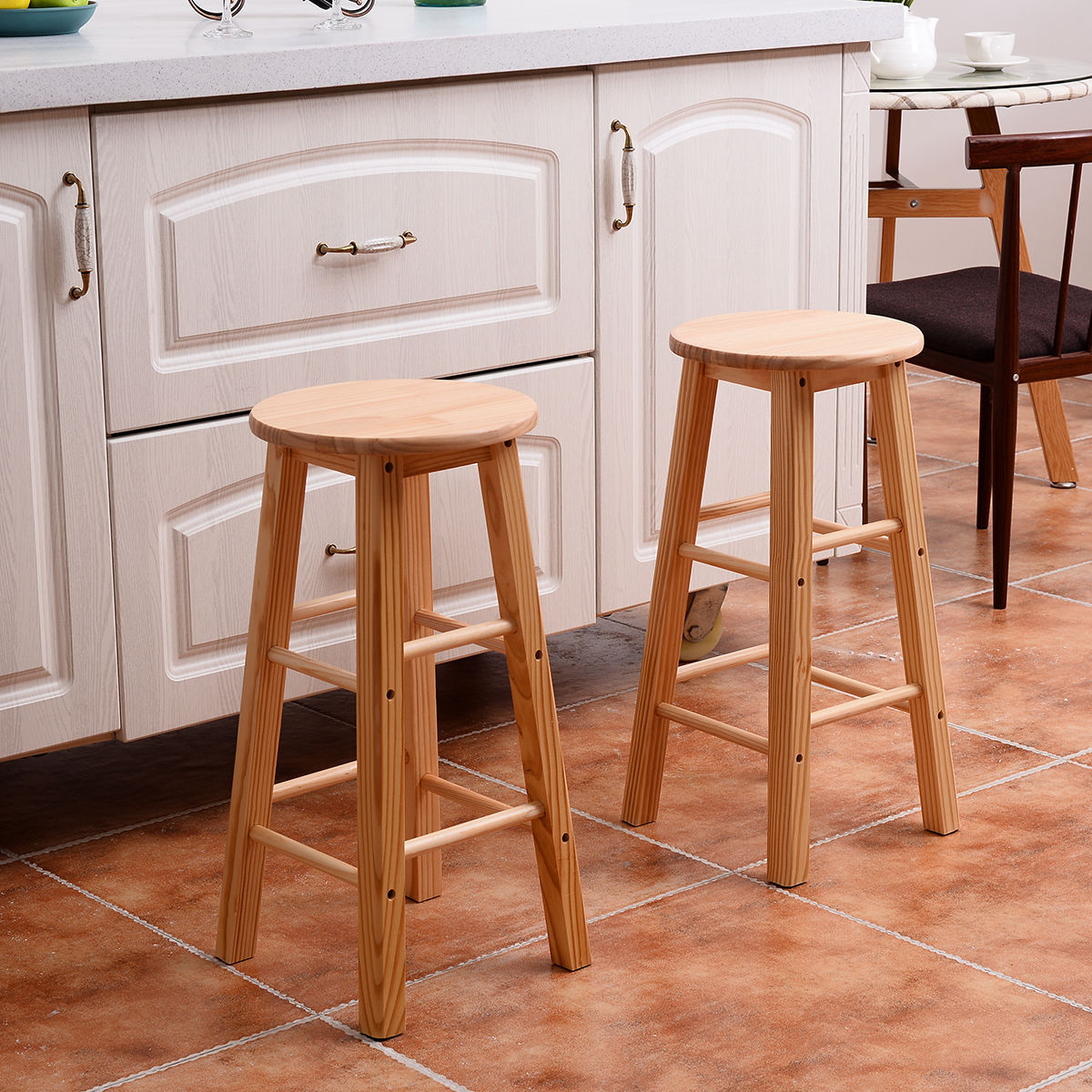 Ktaxon Set of 2 Wood 24-Inch Barstool Square Leg Bar Chairs Kitchen Stools & Kitchen Stools islam-shia.org