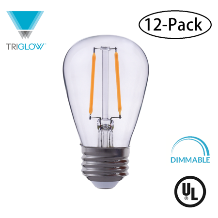 TriGlow (12-Pack) LED 2-Watt (25W Equivalent) Clear Glass S14 Bulb, 2700K (Warm White), 180 Lumens, E26 Base Light Bulb
