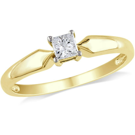Miabella 1/4 Carat T.W. Princess Cut Diamond Solitaire Ring in 10kt Yellow Gold