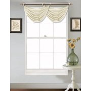 "(V24) IVORY OFF WHITE 1PC Elegant Faux Silk Swag Waterfall Bronze Grommets Dressing Valance, 55"" X 24"" Inch"