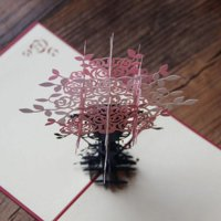 3D Pop Up Cards Hollow Folding Paper for Valentine Lover Happy Birthday Anniversary Greeting Cards Christmas Thanking Day Tree