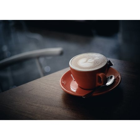 Canvas Print Coffee Drink Spoon Saucer Cup Hot Table Espresso Stretched Canvas 10 x (Footed Cup Saucer)