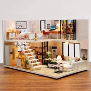 DIY LED Light Kids Apartment Dollhouse Toy,Wood Handcraft Doll House Model Play Set with Furniture , Kids Children Fun Christmas Gifts