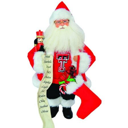 15 ncaa texas tech red raiders santa claus christmas figure with nutcracker - Texas Tech Christmas Decorations
