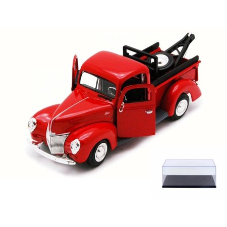 Diecast Car & Display Case Package - 1940 Ford Tow Truck, Red - Showcasts 73234TD - 1/24 Scale Diecast Model Toy Car w/Display Case