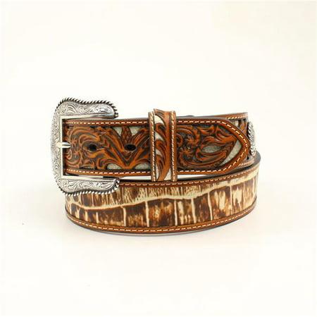 - Nocona N2410508-36 1.50 in. Croco Pierced Overlay Tabs Mens Belt & Buckle, Tan - Size 36