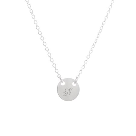 EmeraldPalms Personalized Coin Necklace Silver Plated Adjustable to 18