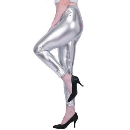 480500eef447 HDE - HDE Women's Shiny Leggings Metallic Wet Look Stretch Pants Clubwear  (Silver, 3X) - Walmart.com