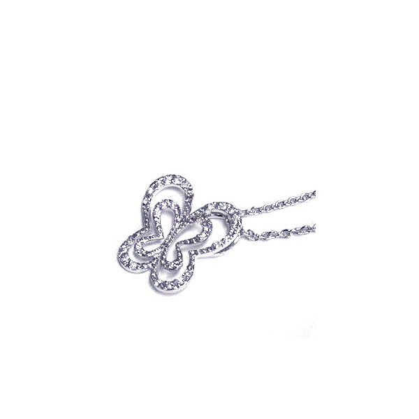 Sterling Silver Clear CZ Rhodium Plated Cutout Butterfly Pendant Necklace (Silver Palace, Inc.)