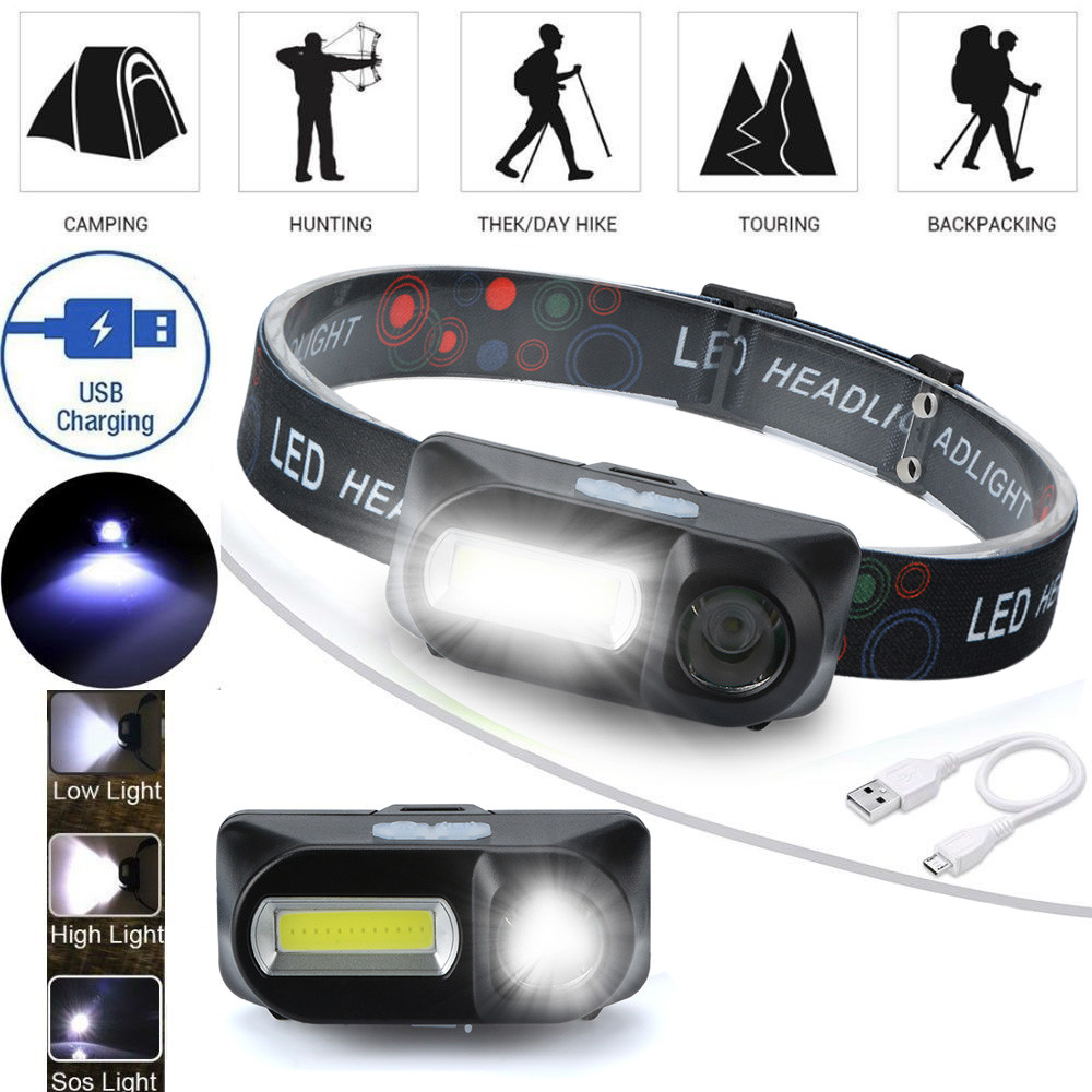 XPE COB LED 6-mode Headlight Straps Adjustable Headlamp Rechargeable Head Torch