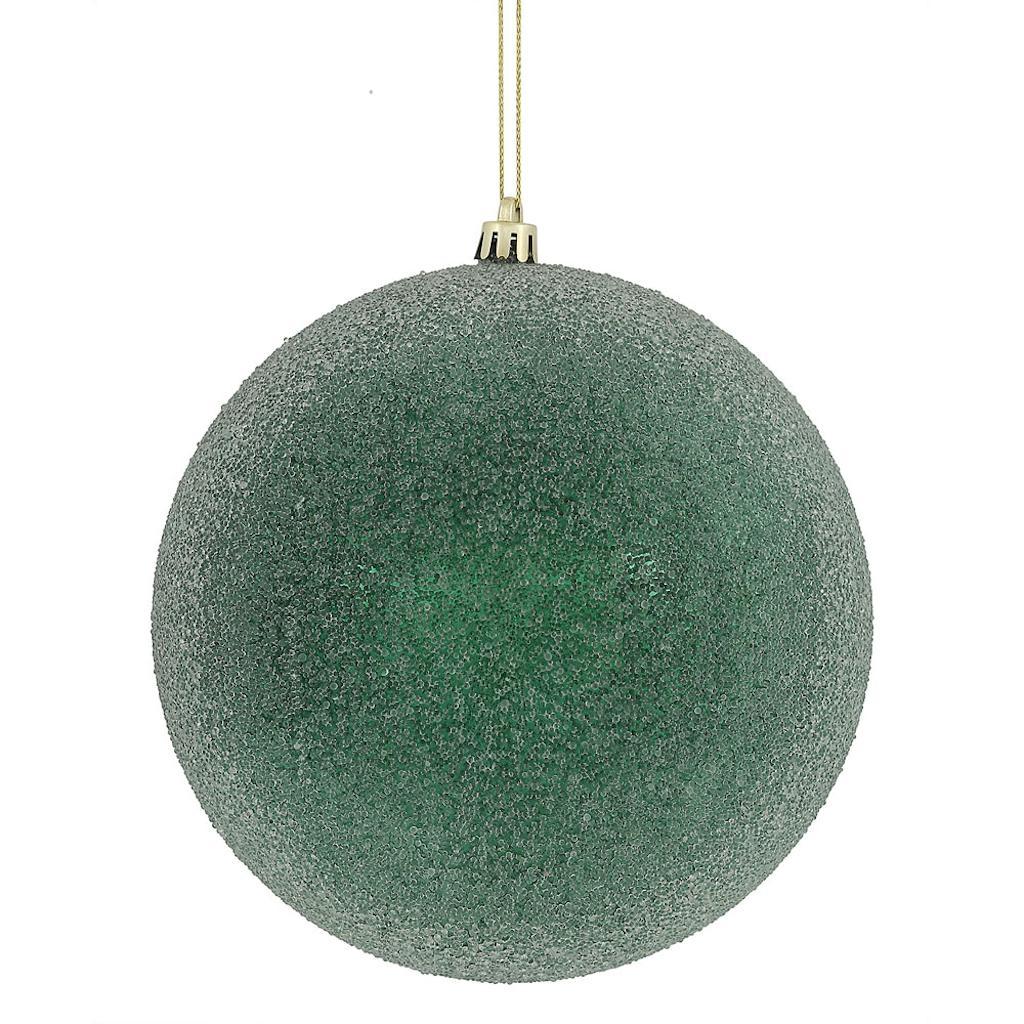 "Vickerman 472637 - 8"" Midnight Green Iced Ball Christmas Christmas Tree Ornament (N172474D)"
