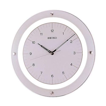 seiko white quiet sweep floating wall clock