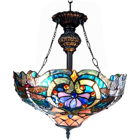 """Chloe Lighting Lydia Tiffany-Style 2-Light Victorian Inverted Ceiling Pendant Fixture with 17"""" Shade"""