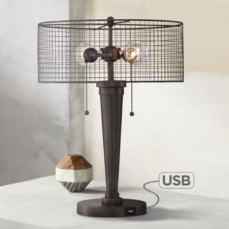 Franklin Iron Works Industrial Accent Table Lamp with Hotel Style USB Port Rustic Iron Bronze Wire Mesh Drum Shade for Living Room Bedroom