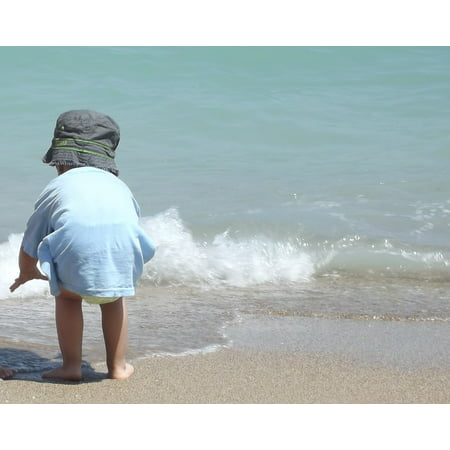 Canvas Print Relax Splash Beach Baby Seaside Holiday Wave Stretched Canvas 10 x 14
