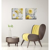 Gango Home Decor Poppy Flower and Bud Floral Wall Art ; Two Yellow 16x16in Hand-Stretched Canvases